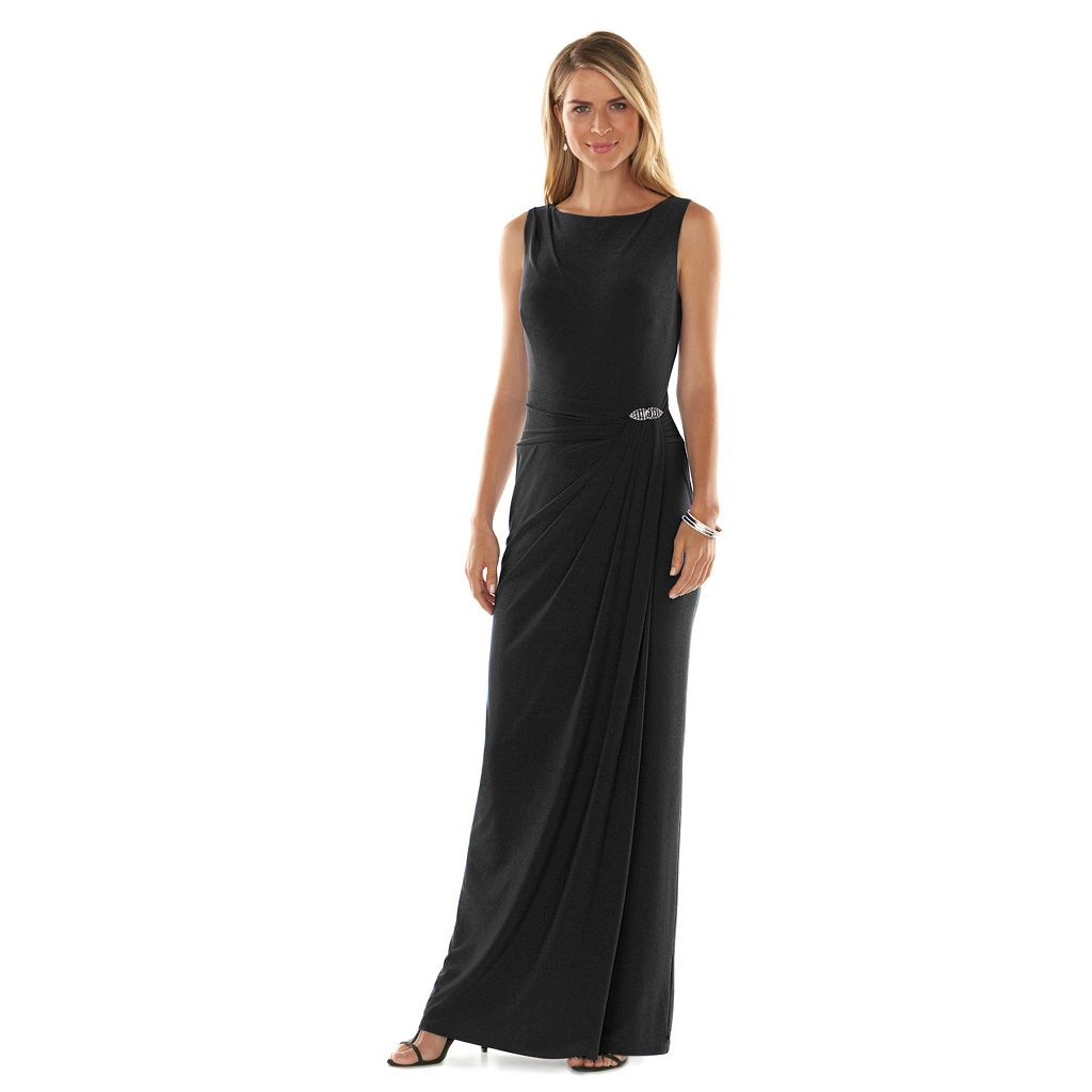 Women's Chaps Sleeveless Embellished Faux-Wrap Evening Gown