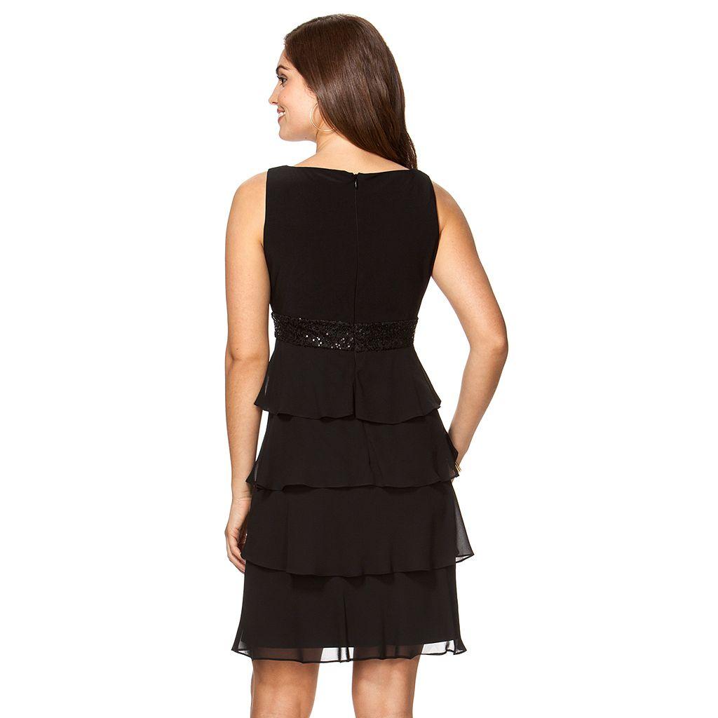 Women's Chaps Sequin Chiffon Tiered Evening Dress
