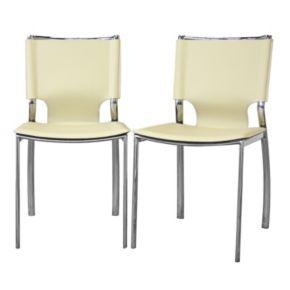 Baxton Studio 2-Piece Montclare Leather Dining Chair Set