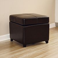 Baxton Studio Full Leather Storage Cube Ottoman
