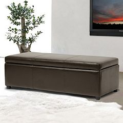 Baxton Studio Full Leather Storage Bench Ottoman