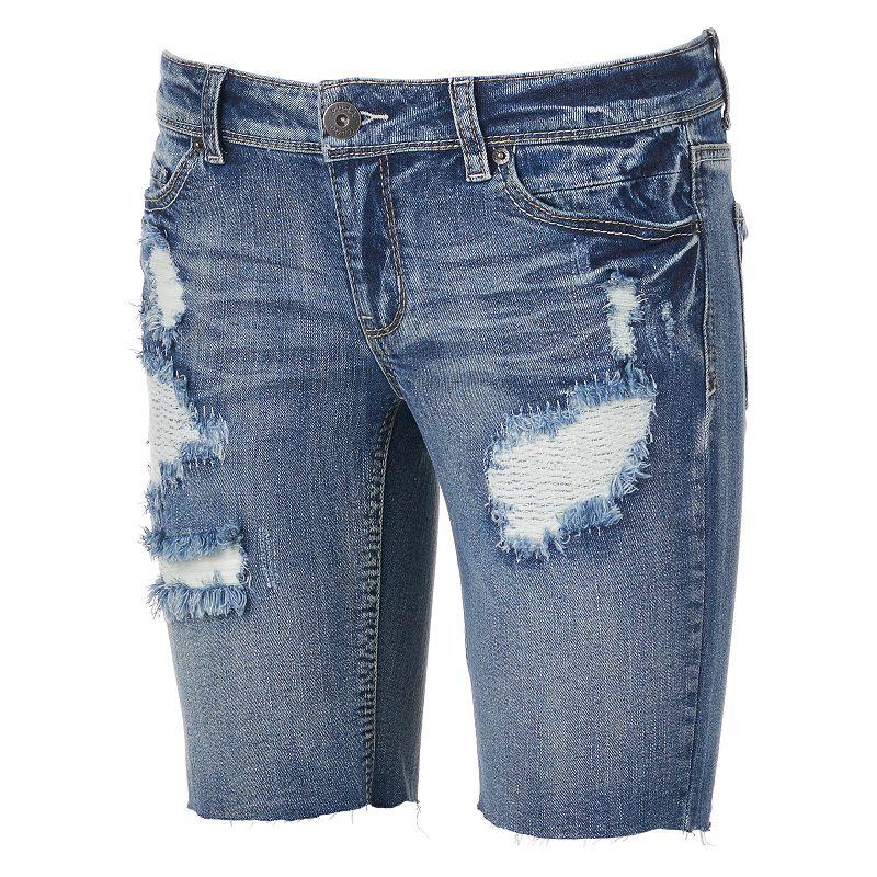 Mudd® Destructed Bermuda Cutoff Jean Shorts - Juniors