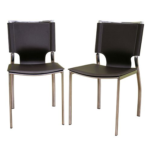 Baxton Studio 2-Piece Leather Dining Chair Set