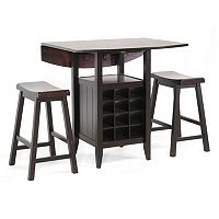 Baxton Studio Reynolds Wooden 3 pc Modern Drop-Leaf Pub Set with Wine Rack