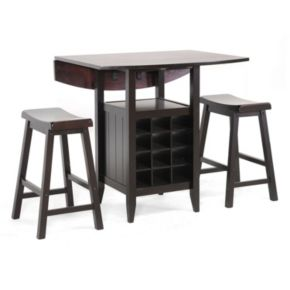 Baxton Studio Reynolds Wooden 3-piece Modern Drop-Leaf Pub Set with Wine Rack