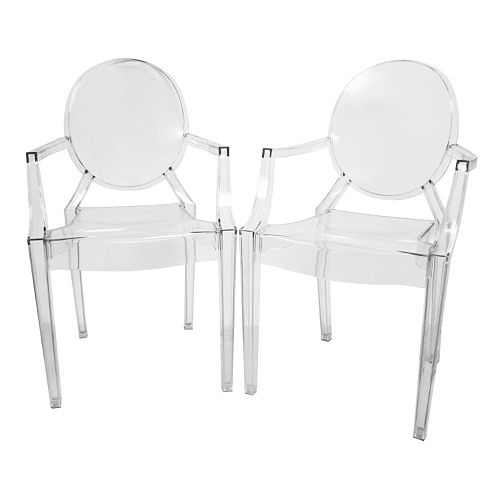 Baxton Studio 2-Piece Dymas Modern Armed Ghost Chair Set