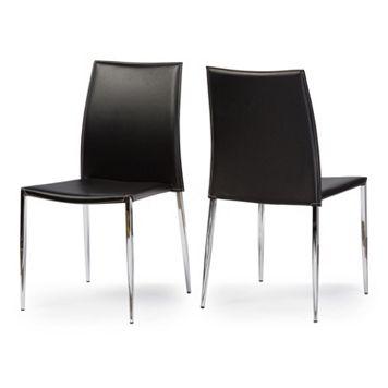 Baxton Studio 2-piece Benton Leather Dining Chair Set
