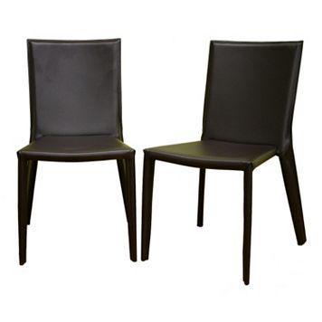 Baxton Studio Semele 2-Piece Leather Dining Chair Set