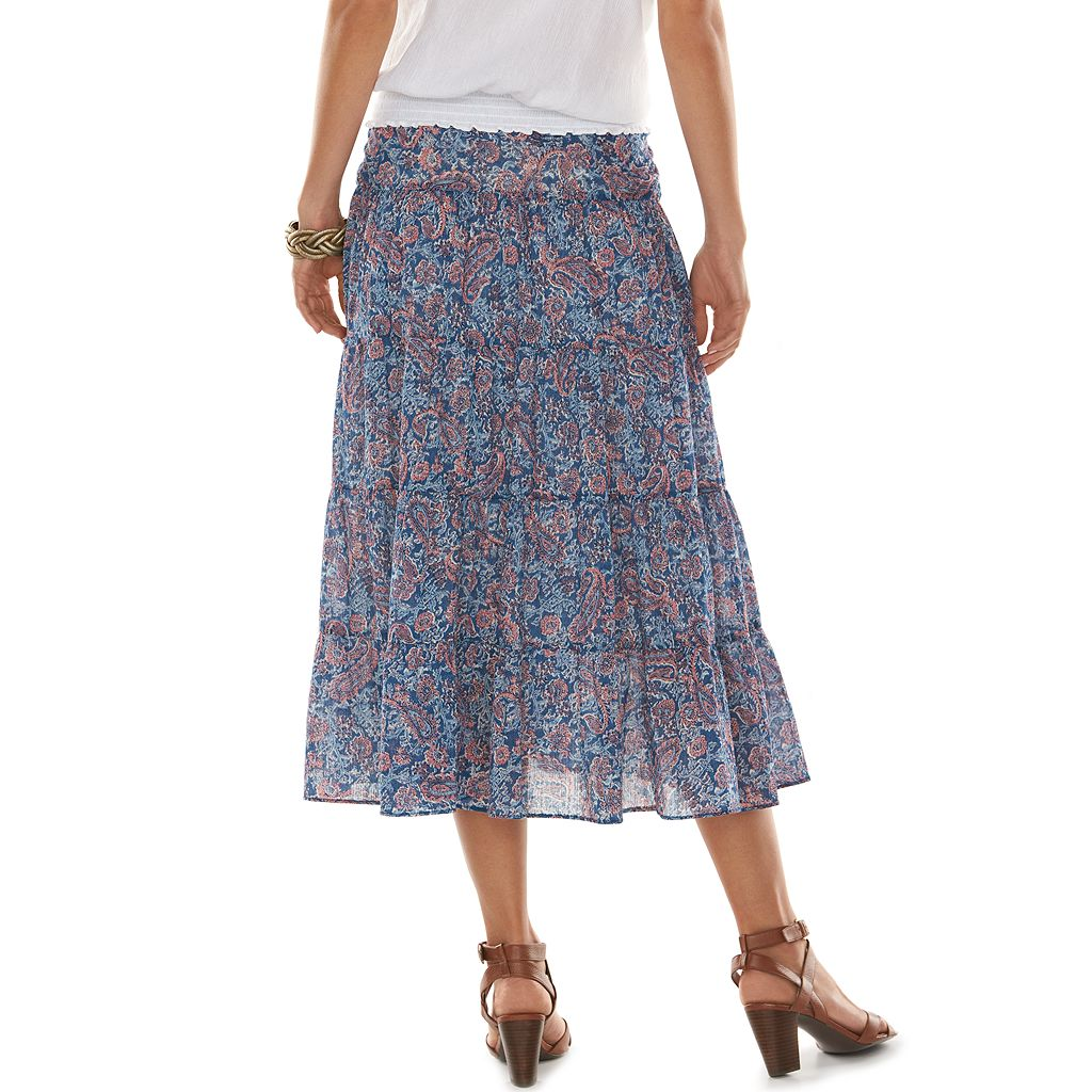 Chaps Tiered Voile Skirt - Women's