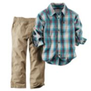 Carter's Plaid Button-Down Shirt & Canvas Pants Set - Toddler Boy