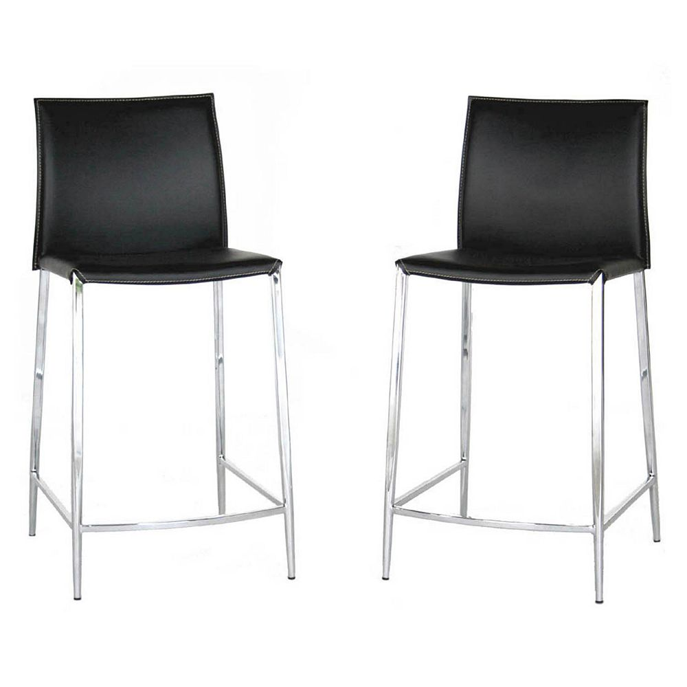 Baxton studio jenson 2 piece leather counter height stool set