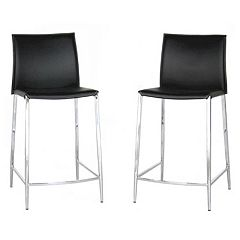 Baxton Studio Jenson 2-Piece Leather Counter-Height Stool Set