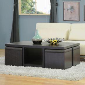 Baxton Studio Prescott 5-Piece Modern Table & Stool Set
