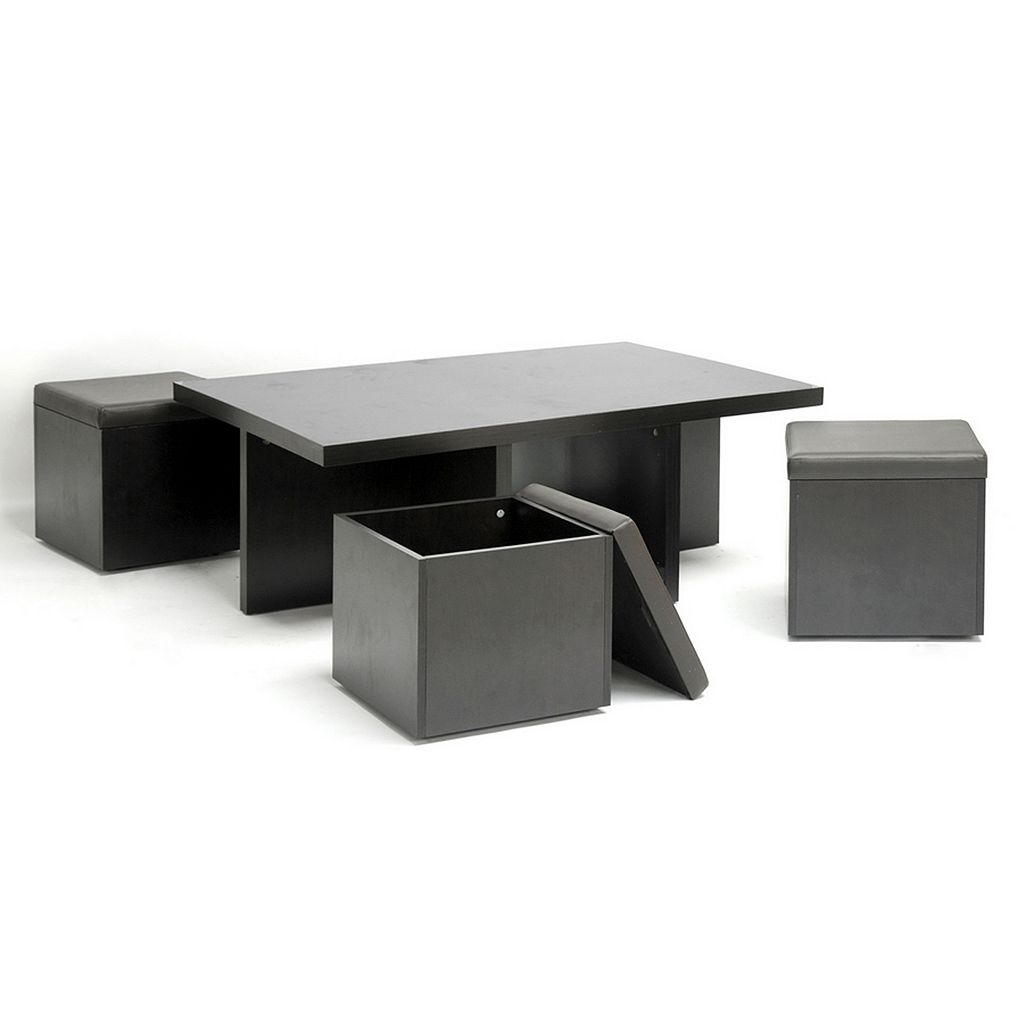 Baxton Studio Prescott 5-Piece Modern Table & Stool Set