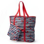 Tri-Coastal Design Striped Hearts & Anchors Beach Bag