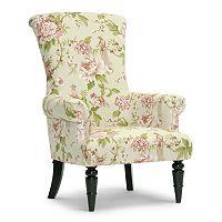 Baxton Studio Kimmett Linen Floral Accent Chair
