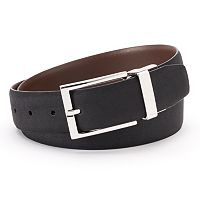 Men's Chaps Ultra Suede Black Brown Reversible Belt