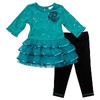 Toddler Girl Youngland Ruffle Tutu Top & Leggings Set