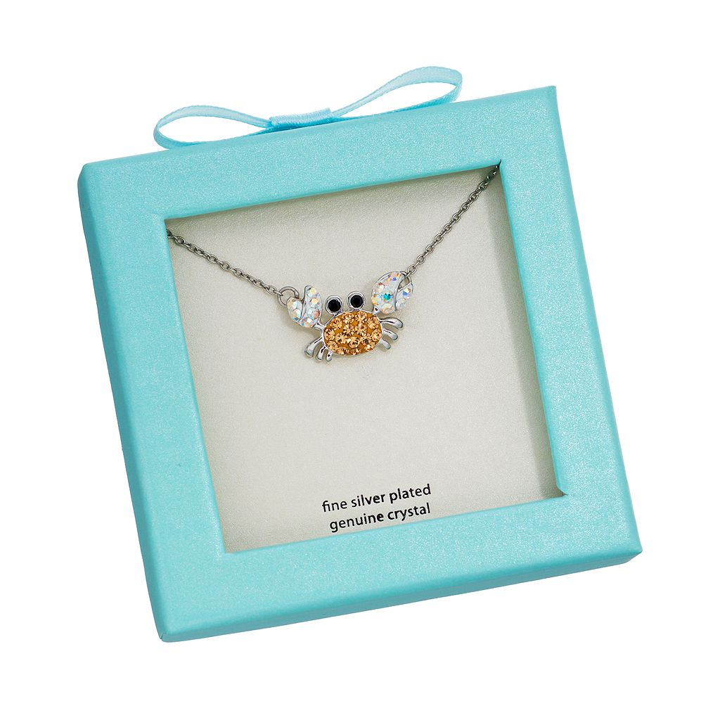 Crystal Silver-Plated Crab Necklace