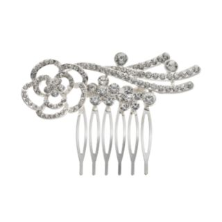 Simulated Crystal Flower Hair Comb