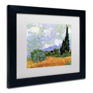 Trademark Fine Art ''Wheatfield with Cypresses 1889'' Framed Canvas Wall Art by Vincent van Gogh