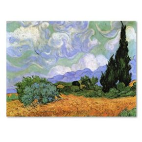 Trademark Fine Art ''Wheatfield with Cypresses 1889'' Canvas Wall Art by Vincent van Gogh