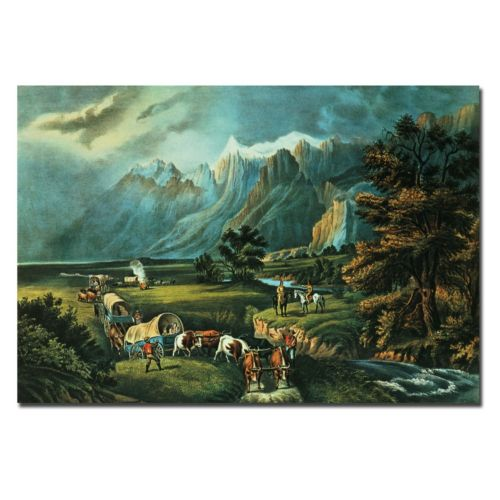 "Trademark Fine Art ""Emmigrants Crossing the Plains"" Canvas Wall Art"