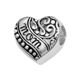 "Individuality Beads Sterling Silver ""Mom"" Filigree Heart Bead"