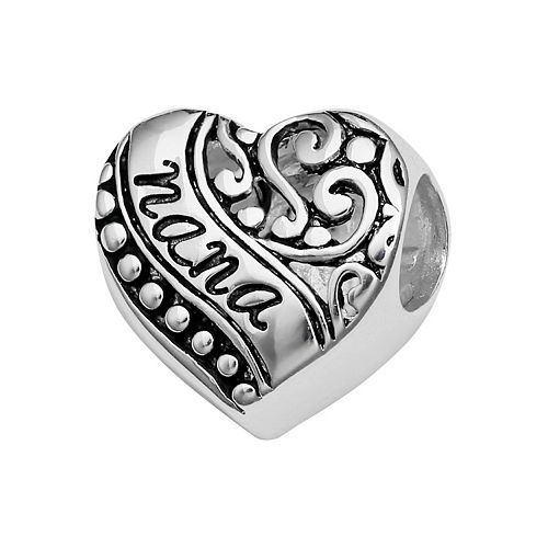 "Individuality Beads Sterling Silver ""Nana"" Filigree Heart Bead"
