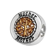 Individuality Beads Sterling Silver & 14k Gold Over Silver 'Mother' Family Tree Bead