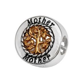 """Individuality Beads Sterling Silver & 14k Gold Over Silver """"Mother"""" Family Tree Bead"""