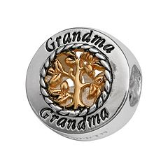 Individuality Beads Sterling Silver & 14k Gold Over Silver 'Grandma' Family Tree Bead