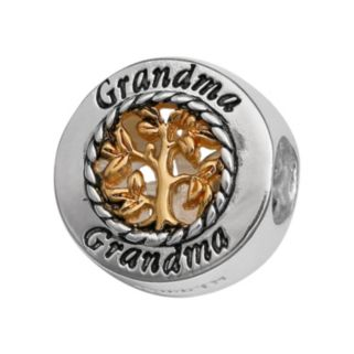 """Individuality Beads Sterling Silver & 14k Gold Over Silver """"Grandma"""" Family Tree Bead"""