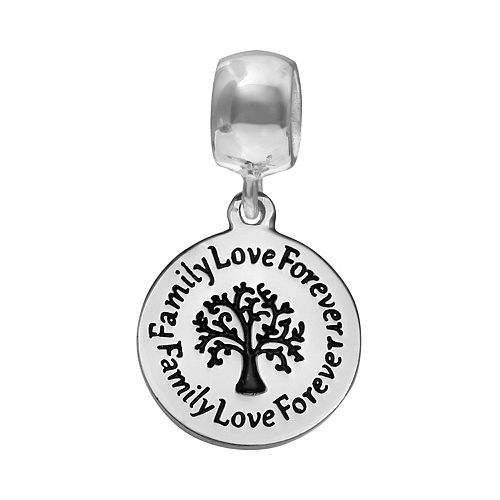 """Individuality Beads Sterling Silver """"Family Love Forever"""" Family Tree Disc Charm"""