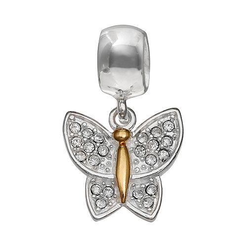 Individuality Beads Crystal Sterling Silver & 14k Gold Over Silver Butterfly Charm