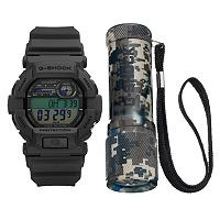 Casio Men's G-Shock Digital Chronograph Watch & Flashlight Key Chain Set - GD350-8FD
