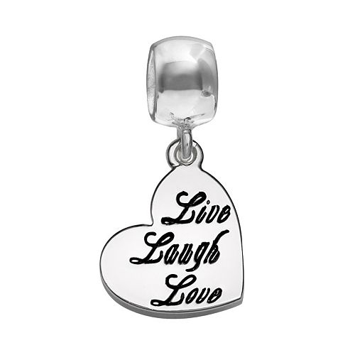 """Individuality Beads Sterling Silver """"Live Laugh Love"""" Heart Charm"""