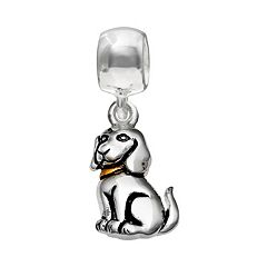 Individuality Beads Sterling Silver & 14k Gold Over Silver Dog Charm