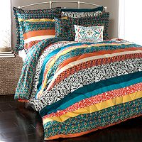 Lush Decor Boho Stripe 7 pc Reversible Comforter Set