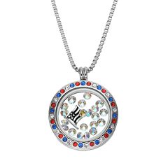 Blue La Rue Crystal Stainless Steel 1 in Round American Flag Charm Locket - Made with Swarovski Crystals