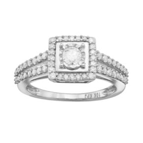 5/8 Carat T.W. Diamond 10k White Gold Square Halo Ring