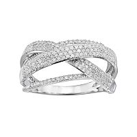 1/2 Carat T.W. Diamond 10k White Gold Twist Wrap Ring