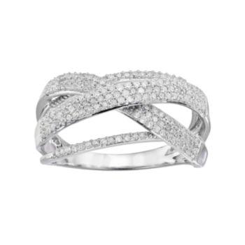 1/2 Carat T.W. Diamond 10k White Gold Twist Wrap Ring