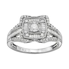 1/2 Carat T.W. Diamond 10k White Gold Halo Ring