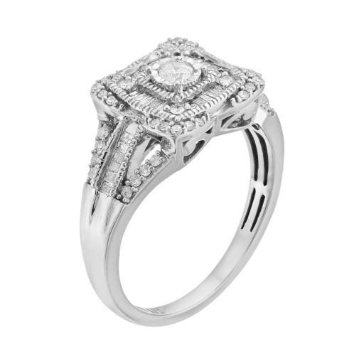 1/2 Carat T.W. Diamond 10k White Gold Halo Ring