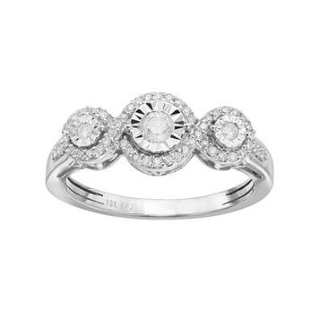 1/3 Carat T.W. Diamond 10k White Gold 3-Stone Halo Ring