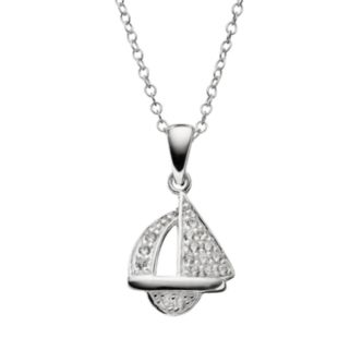 Cubic Zirconia Sterling Silver Sailboat Pendant Necklace