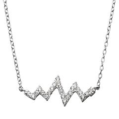 Cubic Zirconia Sterling Silver Zig Zag Necklace