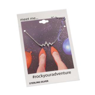 Cubic Zirconia Sterling Silver Zig Zag Necklace