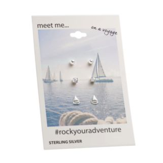 Cubic Zirconia Sterling Silver Sailboat & Ball Stud Earring Set